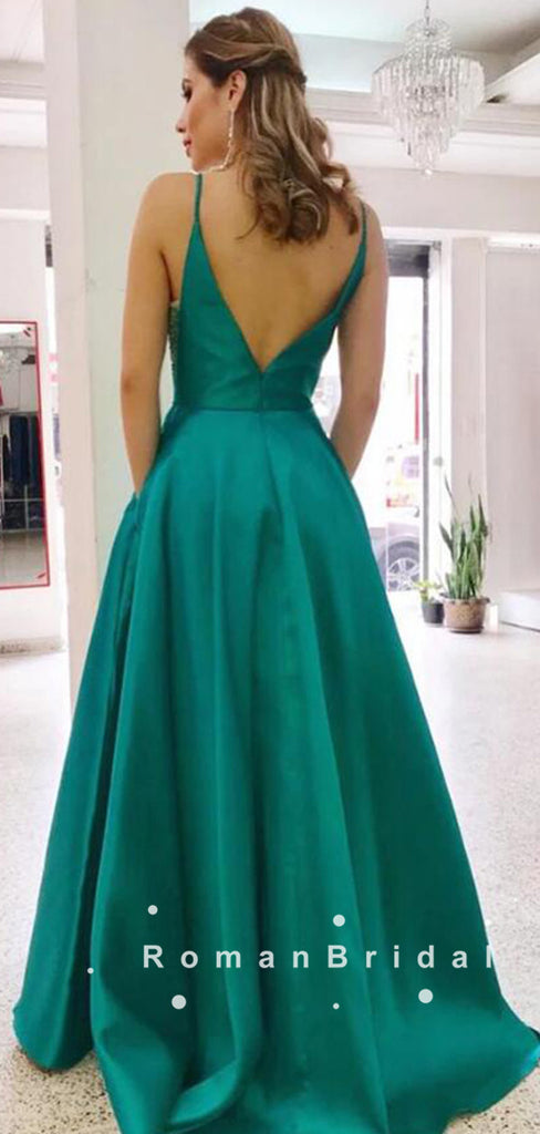 Simple A-Line V-Neck Spaghetti Straps Satin Cheap Long Prom Dresses,RBPD0102