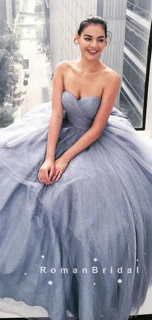 Simple A-Line Sweetheart Grey Tulle Cheap Long Prom Dresses,RBPD0103