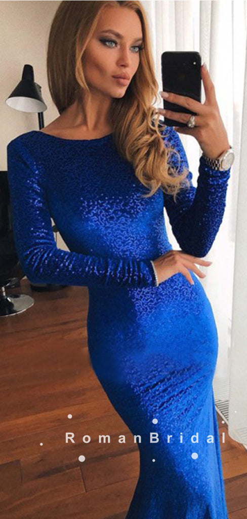 Sexy Mermaid Round Neck Royal Blue Long Sleeves Velvet Long Prom Dresses,RBPD0104