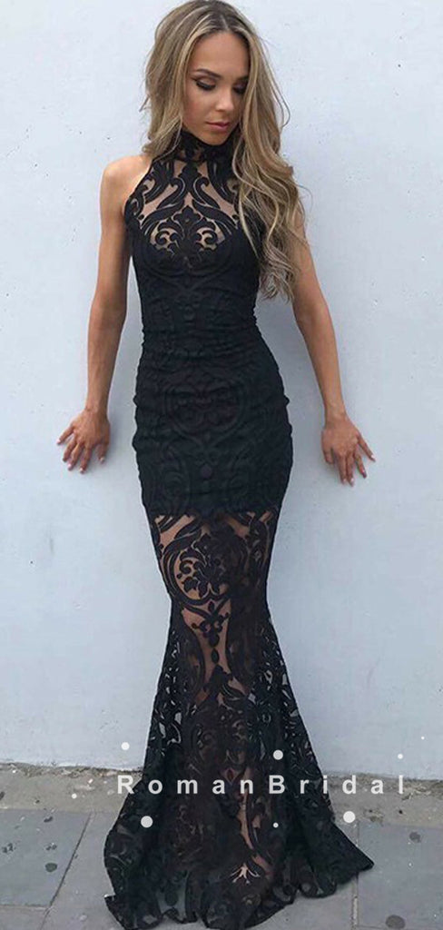 Charming Mermaid Halter Black Lace Custom Long Prom Dresses,RBPD0105