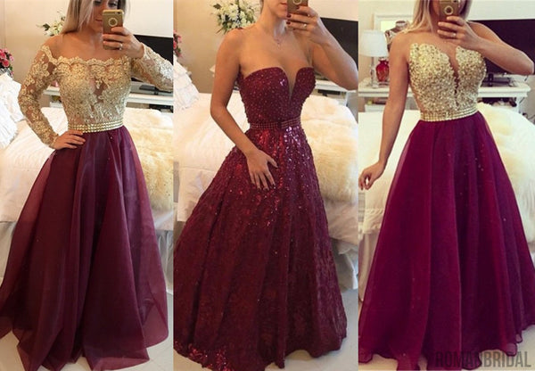 2018 Long Sleeves A-line Floor-length Lace Beaded Gorgeous Evening Gowns, Prom Dress, PD403