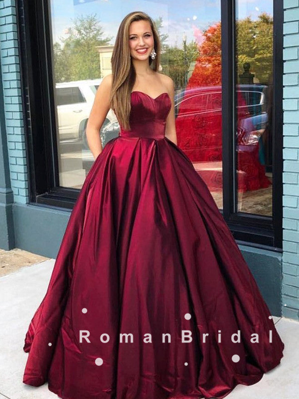 A-Line Sweetheart Dark Red Cheap Long Prom Dresses,RBPD0106