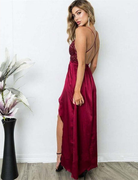 Newest Floor-length Spaghetti Straps Deep V-neck Backless Sequins Prom Dresses , PD0553