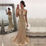 Champagne Sleeveless Crystals Backless Halter Mermaid Gorgeous evening Dress Long Prom Dress, PD0499