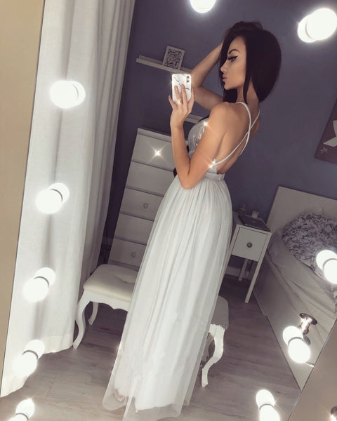 Floor-length Spaghetti Straps Deep V-neck Backless Long Sequins Prom Dresses, PD0550
