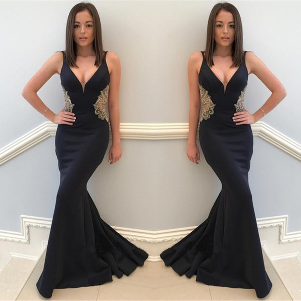 Mermaid Sexy Deep V-neck Sleeveless Appliques Black Long Prom Dresses, PD0549