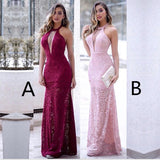Floor-length Halter Sexy Deep V-neck Sleeveless Lace Long Prom Dresses, PD0548