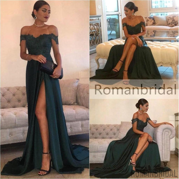 2018 Gorgeous Floor-Length Split Off-the-Shoulder Lace Elegant Long Evening Dress, Long Prom Dress, PD0434
