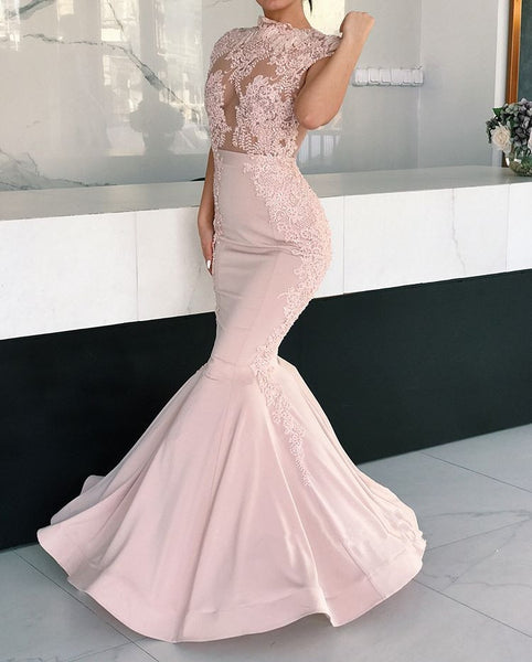 Mermaid Gorgeous Cap Sleeves Round Neck Lace Appliques Prom Dresses, PD0547