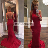 2018 Amazing Red Backless high neck evening dress, Simple Mermaid Ruffles Court-Train Red Backless Prom dress, PD0432