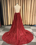 V-Neck Spaghetti Straps Red Sequins Long Prom Dress With Pleats, PD0620