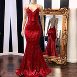 Spaghetti Straps V-neck Red Sequins Lace Up Back Prom Dresses, PD0683
