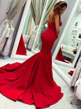 Red Mermaid Sweetheart Sleeveless Long Prom Dress With Train, PD0613