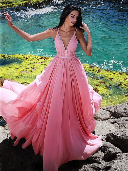 Gorgeous V-Neck Sleeveless Pink Long Prom Dress, PD0618