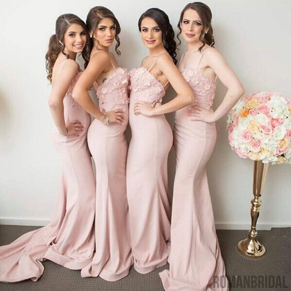 Newest Spaghettis Straps Backless Appliques Mermaid Sleeveless Pink Bridesmaid Dresses, BD0417
