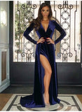 2019 Modest V Neck High Split Long Sleeves Prom Dresses, PD0684