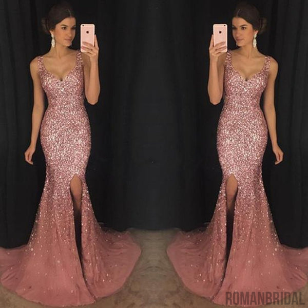 e07fff3190f7 2018 Sexy Mermaid Evening Dresses With Trailing, V-Neck Beaded Split Side Prom  Dresses