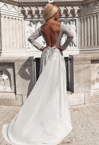 A-line Long Sleeves Beading Backless Prom Dresses, PD0672