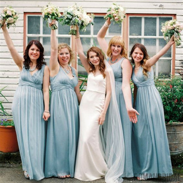 Wedding Party Long Blue V-Neck Modern Bridesmaid Dresses,Sleeveless Fashion bridesmaid dresses, BD0416