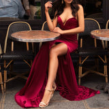 Newest Secy V-neck Strapless High Split Burgundy Prom Dresses, PD0685