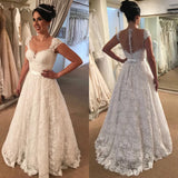 New Arrival A-line Floor-length Lace Cap-Sleeve Sexy V-neck Back yarn Wedding Dresses, WD0355