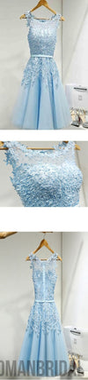 2018 Light blue appliques lace see through lovely freshman homecoming prom gown dress,BD00109