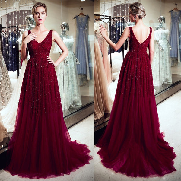 A Line V Neck Sleeveless Beading Burgundy Prom Dresses With Train