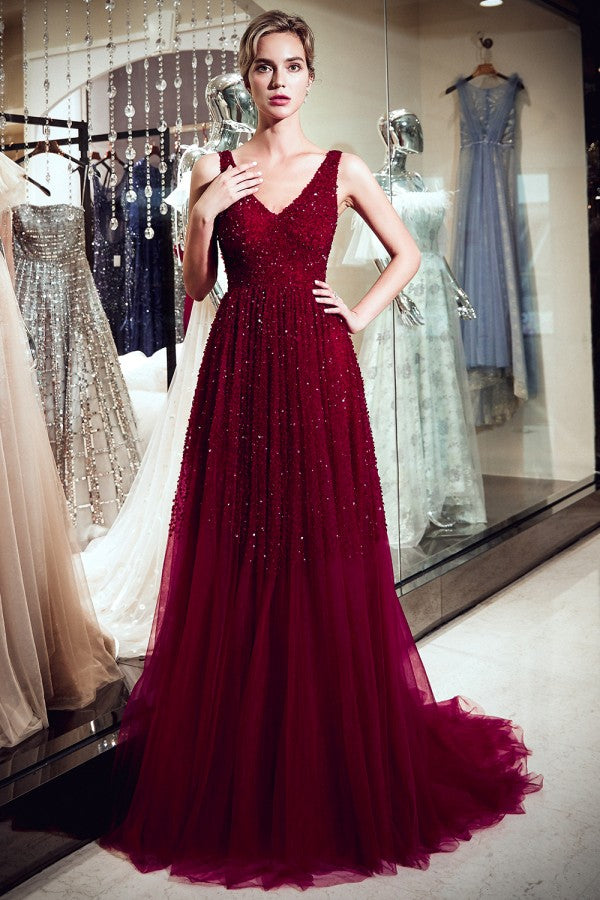 A-line V-neck Sleeveless Beading Burgundy Prom Dresses With Train, PD0680