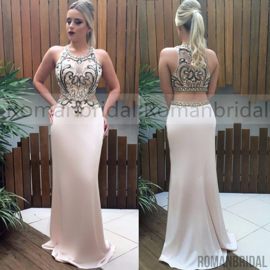 2018 Amazing Two pieces rhinestone beads top mermaid party evening dresses, long Prom Dresses, PD0455