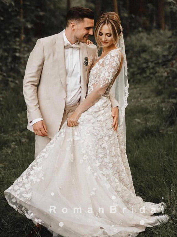 See Through A-Line Deep V-Neck Long Sleeves Long Wedding Dresses With Lace,RBWD0012
