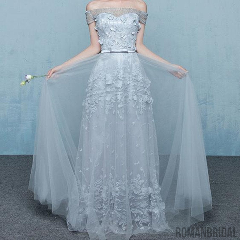 2018  Floor-length  Elegant Grey  Off  Shouder Beading Lace  Appliques Vintage  Lace Up  A-LINE Long Prom Dresses, PD0406