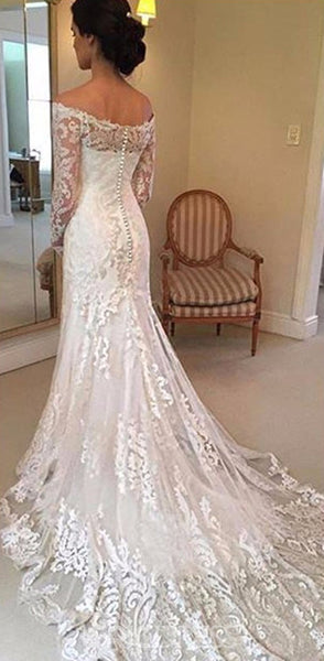 New Arrival Off the Shoulder Long Sleeves Lace Wedding Dresses With Train, WD0388