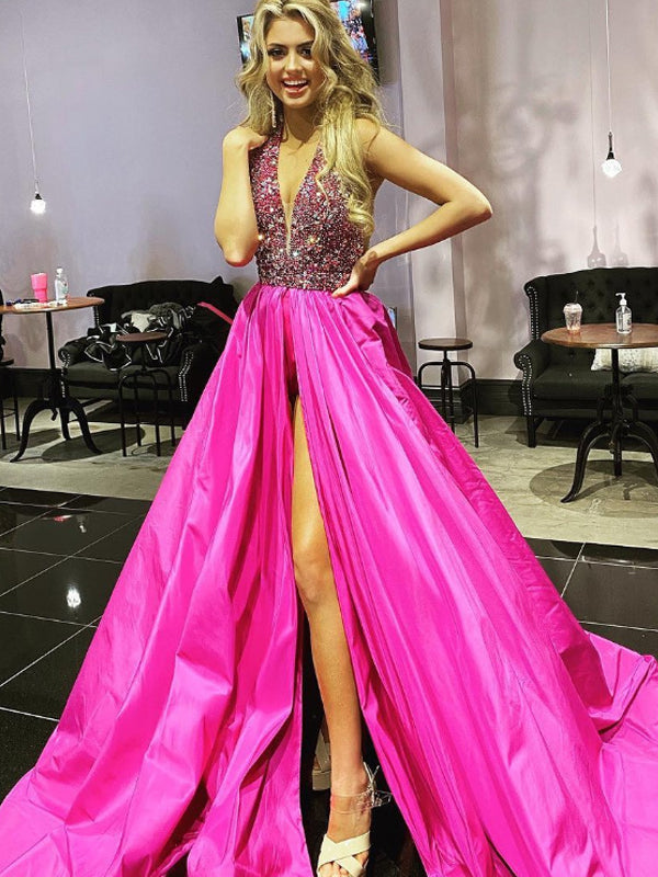 Simple Deep V-neck A-line Satin Sequin Cheap Long Prom Dresses,RBPD0132