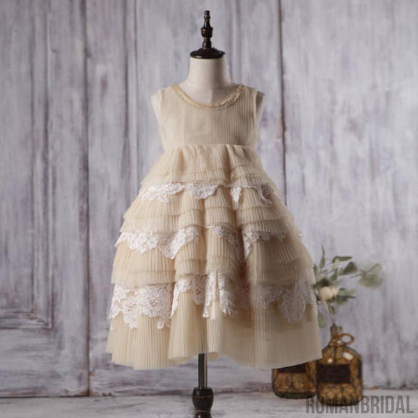 Round Neckline Sleeveless Beige Tulle Lace Flower Girl Dresses, Affordable Little Girl Dresses, FG058
