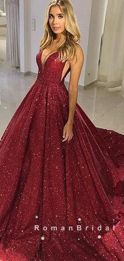 A-Line V-Neck Spaghetti Straps Dark Red Sweep Train Prom Dresses,RBPD0013