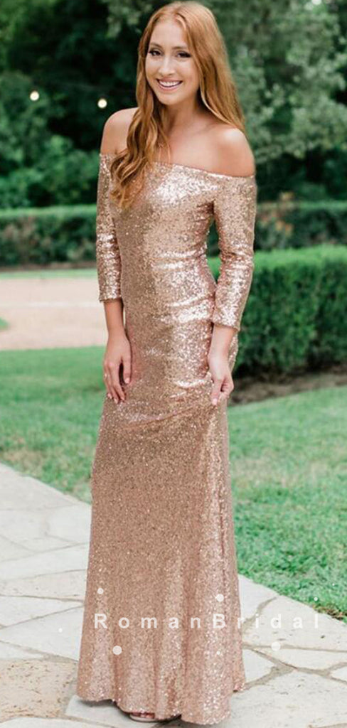 Sheath Off The Shoulder Long Sleeves Sequins Long Bridesmaid Dresses,RBWG0013