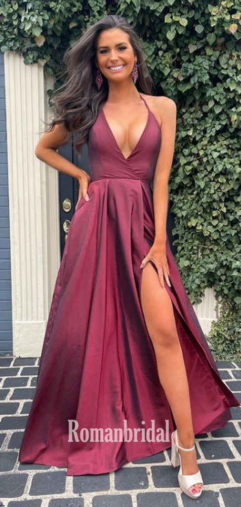 Simple V-neck A-line Satin Side Slit Cheap Long Prom Dresses,RBPD0133