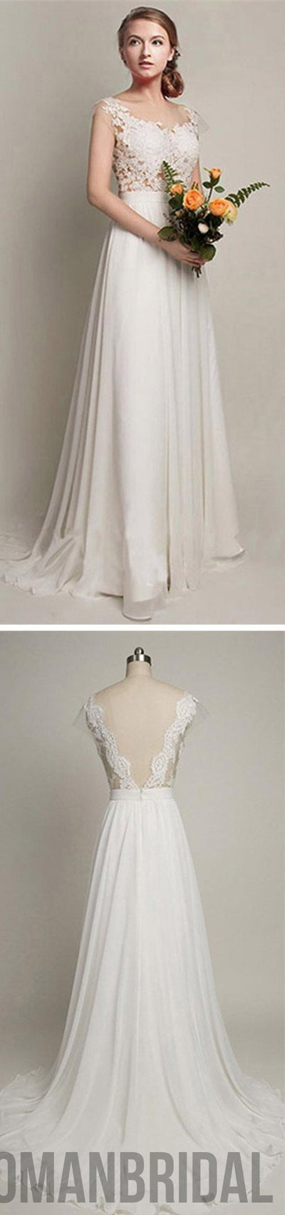 Attractive 2018 Simple Long A Line V Back Lace Wedding Dresses, Chiffon Wedding Party Design Ideas