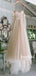 Off-shoulder A-line Tulle Cheap Long Wedding Dresses Online,RBWD0023