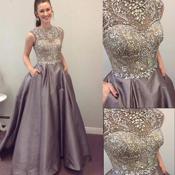 A-Line Sparkly Beading Sleeveless Modest Prom Dresses, PD0682