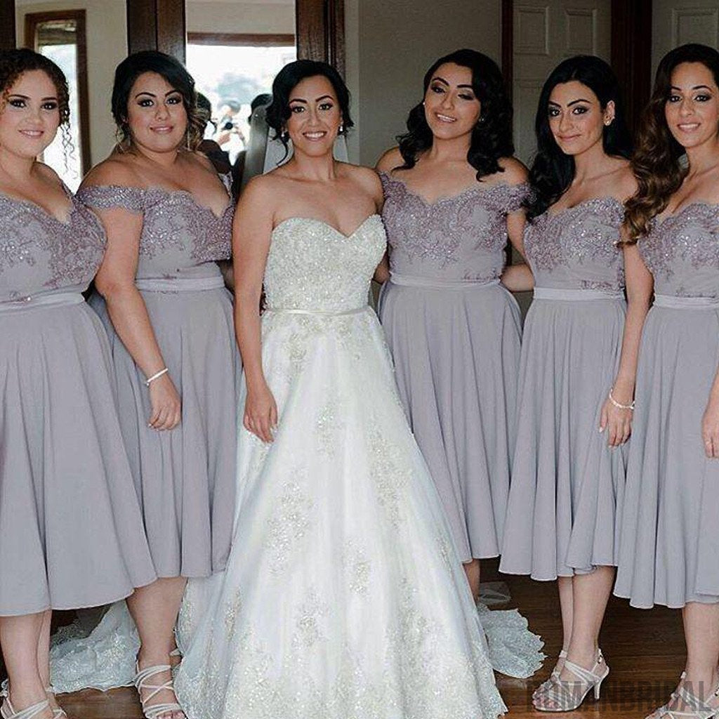 Cap Sleeve Off Shoulder Tea Length Chiffon Lace Grey On Sale Short Young Bridesmaid Dresses, WG134