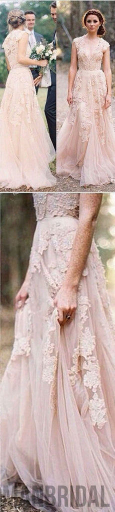 2018 Charming Pink Lace Sexy V-neck Long Sheath Tulle Wedding Party Dresses, WD0139