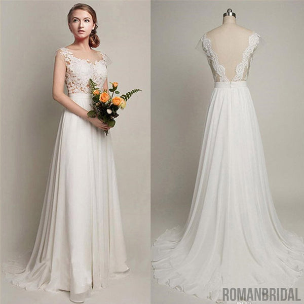 b0548b9891 2018 Simple Long A-Line V-back Lace Wedding Dresses, Chiffon Wedding Party