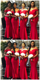 Mermaid Off-the-Shoulder Sleeveless Floor-Length Modern Red Bridesmaid Dress, BD0487