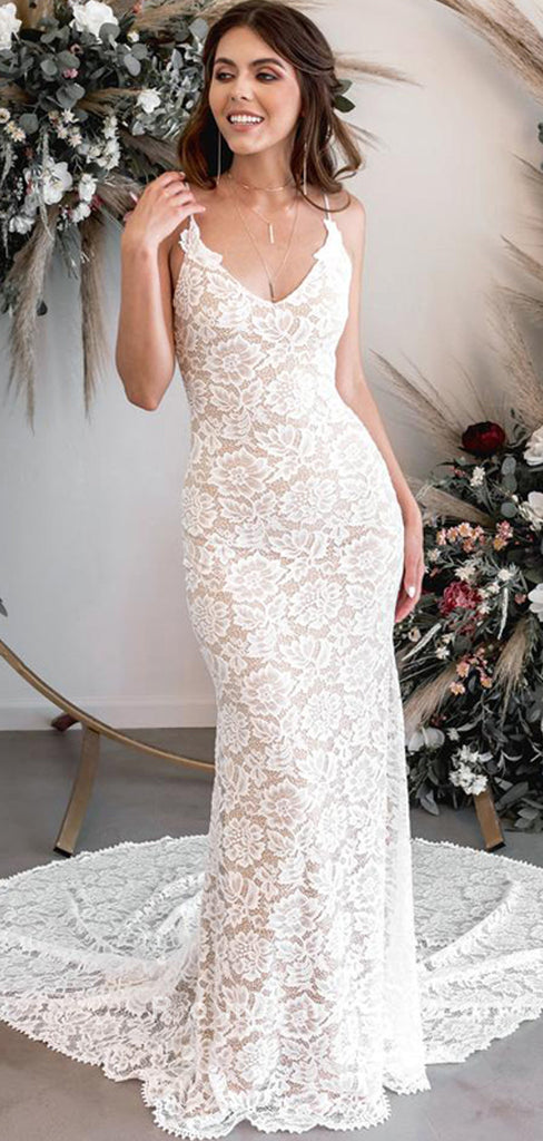 Mermaid V-Neck Spaghetti Straps Lace Long Wedding Dresses,RBWD0014