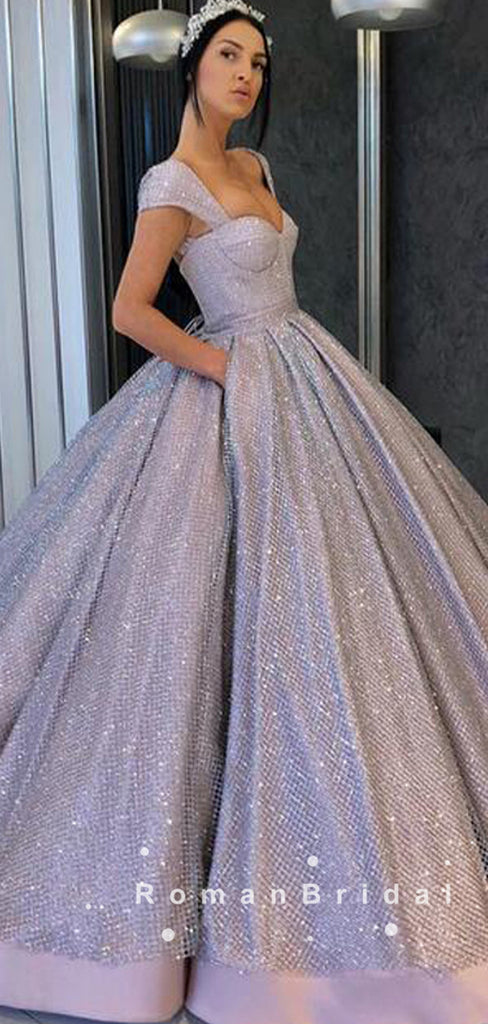 Charming Ball Gown Cap Sleeves Sweetheart Long Prom Dresses,RBPD0014