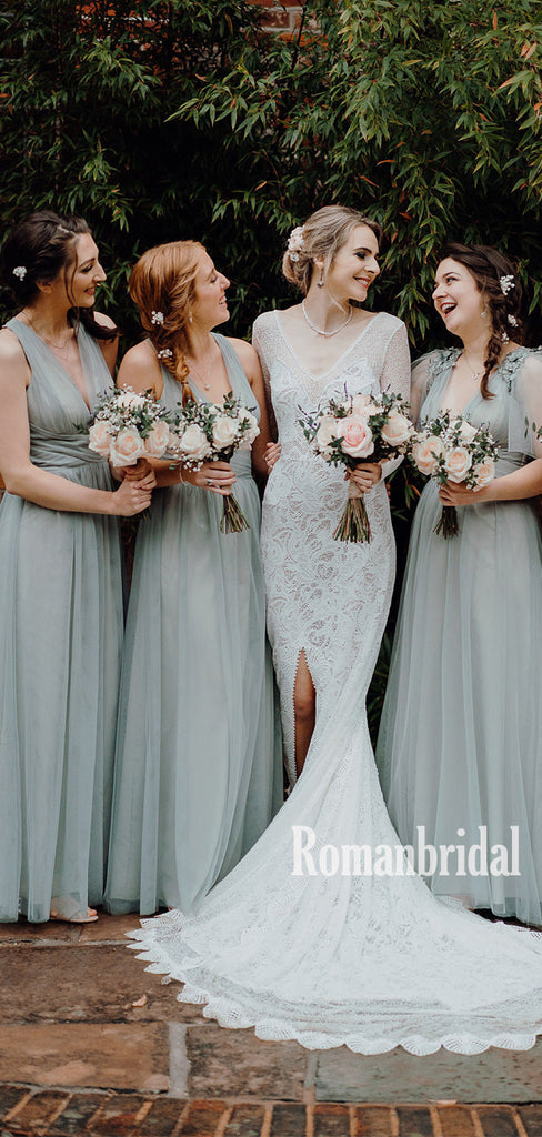 Newest V-neck Tulle Cheap Long Bridesmaid Dresses Online,RBWG0034