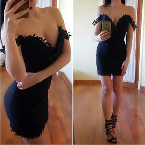 New Arrival Tight Off-shoulder sexy Deep V-neck short/mini Homecoming dresses, HD0341