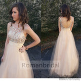 2018 New Champagne V-Back A-line Beaded Charming Formal Long Prom Dresses. PD0436