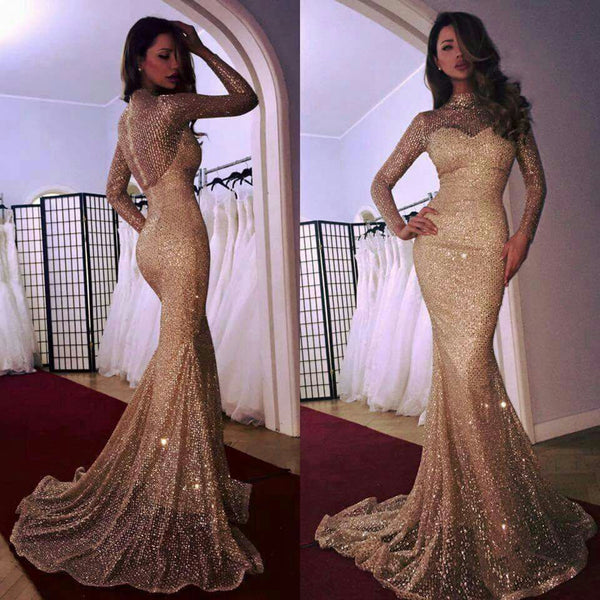 Amazing Mermaid High Neck Long Sleeves Shining Prom Dress, PD0615